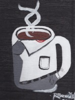 Painting of a mug that looks a man, with lipstick on this collar